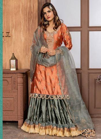 Rust Satin Wedding Wear Embroidery Work Sharara Suit