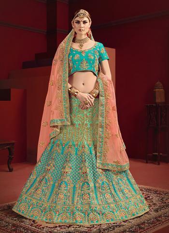 Satin Bridal Wear Sea Green Thread Work Lehenga Choli