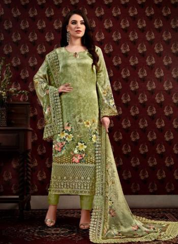 Satin Party Wear Light Green Digital Print Straight Suit