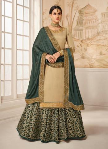 Satin Silk Beige Bridal Wear Hand Work Lehenga Suit