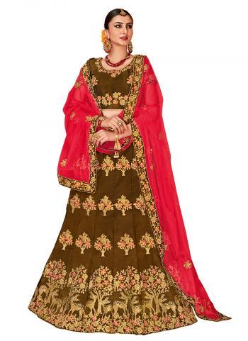 Satin Silk Brown Wedding Wear Zari Embroidery Work Lehenga Choli