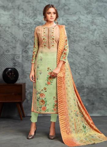 Sea Green Cotton Satin Daily Wear Digital Print Churidar Suit
