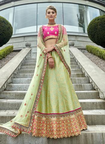 Sea Green Jacqaurd Bridal Wear Heavy Embroidery Work Lehenga Choli