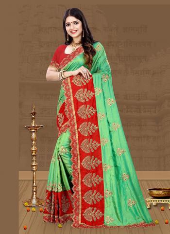 Sea Green Silk Festival Wear Embroidery Work Saree