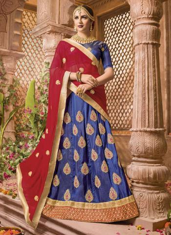 Silk Blue Embroidery Work Party Wear Lehenga Choli