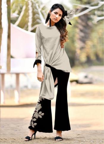 Silk Casual Wear Beige Fancy Work Top With Bottom