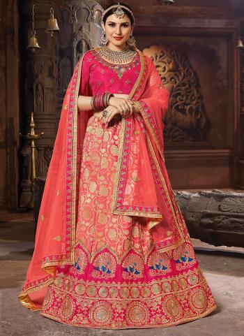 Silk Gajri Embroidery Work Wedding Wear Lehenga Choli