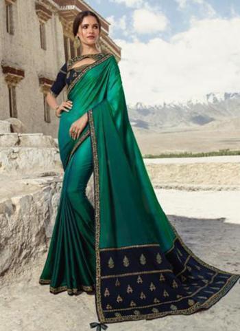 Silk Green Festival Wear Lace Work Saree
