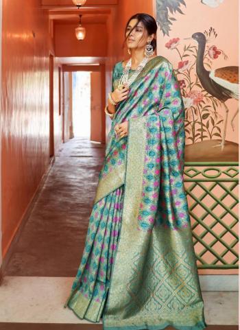 Silk Green Festival Wear Printed Work Saree