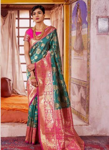 Silk Green Party Wear Zari Printed Work Saree