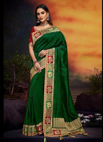 Silk Green Wedding Wear Lace Work Saree