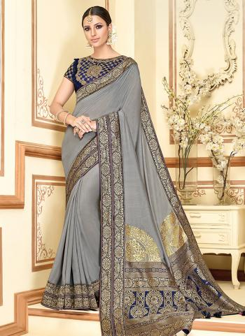 Silk Grey Zari Work Wedding Wear Saree
