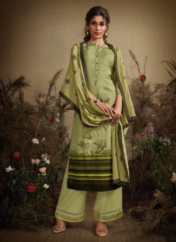 Silk Light Green Regular Wear Schiffli Work Ready Made Palazzo Suit