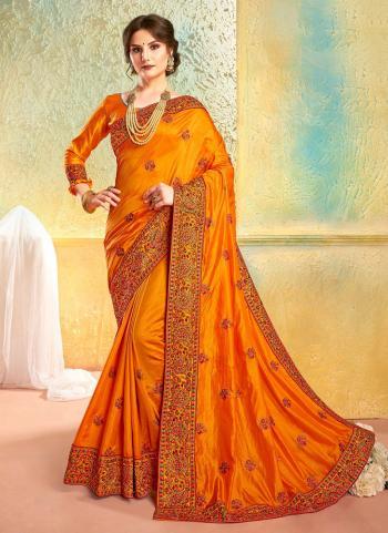 Silk Orange Reception Wear Heavy Embroidery Work Saree