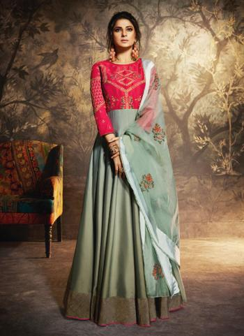 Silk Party Wear Teal Embroidery Work Anarkali Suit