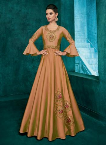 Silk Peach Embroidery Work Party Wear Gown