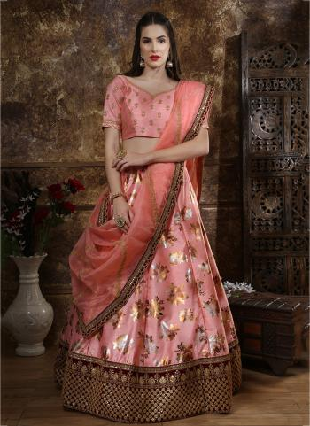 Silk Pink Cut Work Wedding Wear Lehenga Choli