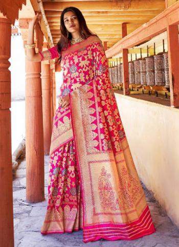 Silk Pink Wedding Wear Zari Printed Work Saree