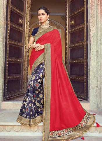 Silk Red Festival Wear Embroidery Work Saree