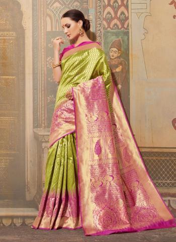 Silk Wedding Wear Light Green Zari Work Saree