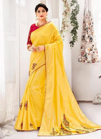 Silk Yellow Butta Work Party Wear Saree