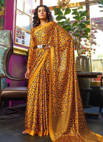 Silk Yellow Party Wear Printed Work Saree