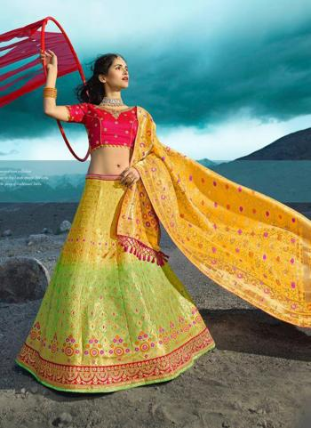Silk Yellow And Green Wedding Wear Embroidery Work Lehenga Choli