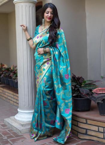 Sky Blue Banarasi Silk Wedding Wear Zari Printed Work Saree