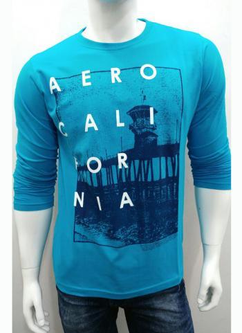 Sky Blue Plain Cotton Casual Wear T-Shirts