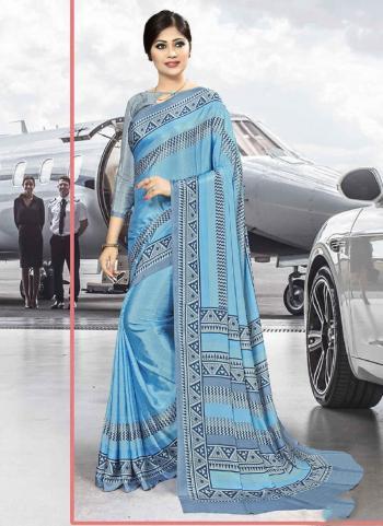Sky Blue Crepe Silk Regular Wear Printed Work Uniform Saree