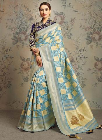 Sky Blue Jacqaurd Silk Wedding Wear Thread Work Saree