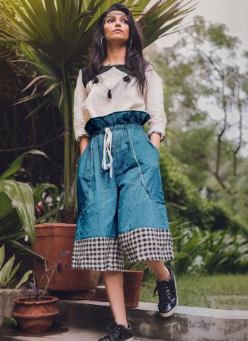 Sky Blue Khadi Silk Party Wear Printed Work Top