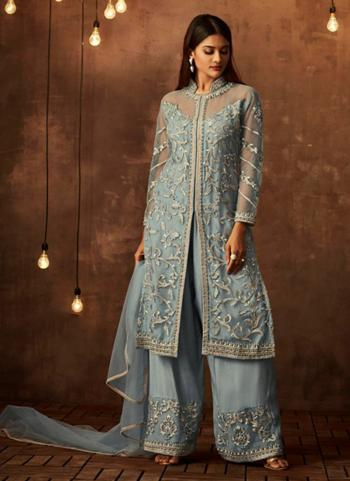 Sky Blue Net Wedding Wear Embroidery Work Palazzo Suit