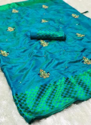 Sky Blue Silk Casual Wear Diamond Work Saree