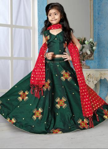 Tapeta Satin Green Butta Work Festival Wear Girls Lehenga Choli