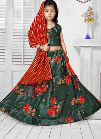 Tapeta Satin Festival Wear Girls Green Butta Work Lehenga Choli