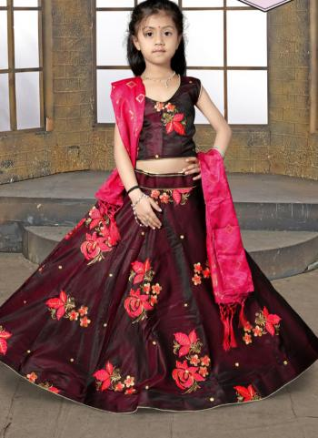 Butta Work Tapeta Satin Festival Wear Maroon Girls Lehenga Choli
