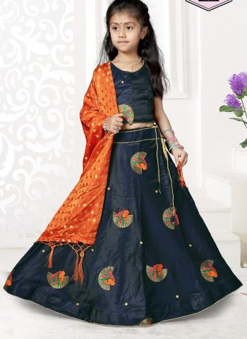 Navy Blue Tapeta Satin Festival Wear Butta Work Girls Lehenga Choli