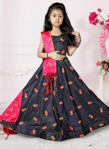 Girls Tapeta Satin Festival Wear Navy Blue Butta Work Lehenga Choli