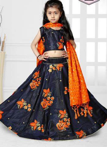 Tapeta Satin Navy Blue Butta Work Girls Festival Wear Lehenga Choli