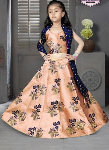 Tapeta Satin Festival Wear Peach Butti Work Girls Lehenga Choli