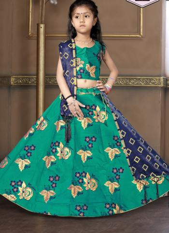 Tapeta Satin Festival Wear Turquoise Butta Work Girls Lehenga Choli