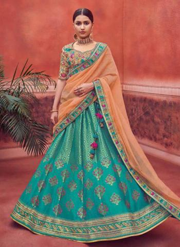 Teal Banarasi Silk Wedding Wear Zari Work Lehenga Choli
