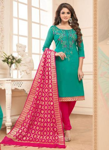 Teal Glace Cotton Daily Wear Embroidery Work Churidar Suit