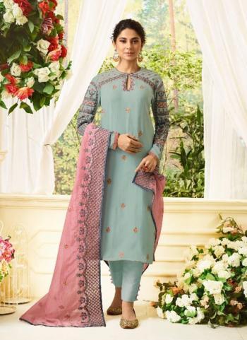 Teal Modal Silk Festival Wear Resham Work Salwar Suit