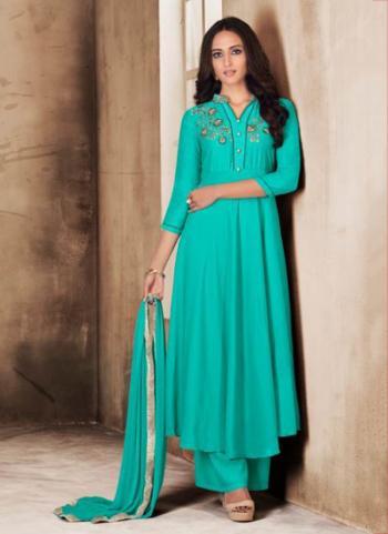Teal Muslin Casual Wear Hand Work Readymade Anarkali Suit