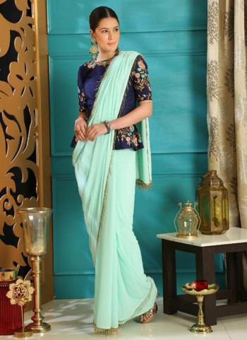 Turquoise Blue Georgette Party Wear Sequins Work Saree