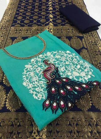 Turquoise Modal Chanderi Casual Wear Hand Work Salwar Suit