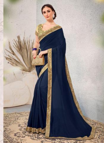 Vichitra Silk Navy Blue Festival Wear Lace Work Saree