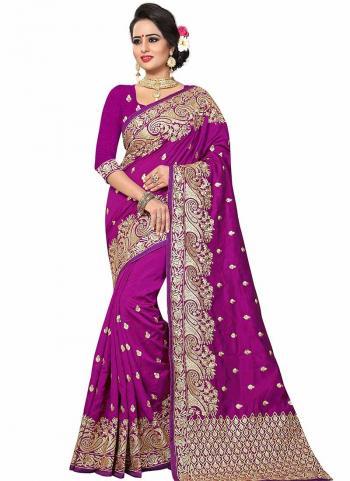 Violet Art Silk Wedding Wear Butti Work Saree